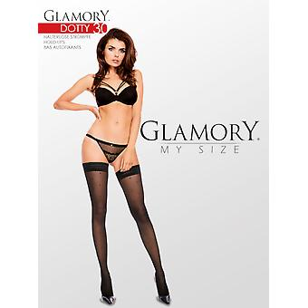 Glamory Dotty 30 Patterned Hold Ups up to 4XL