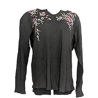 Style & Co. Women's Plus Top Henley Long Sleeve Emb Thrml Purple
