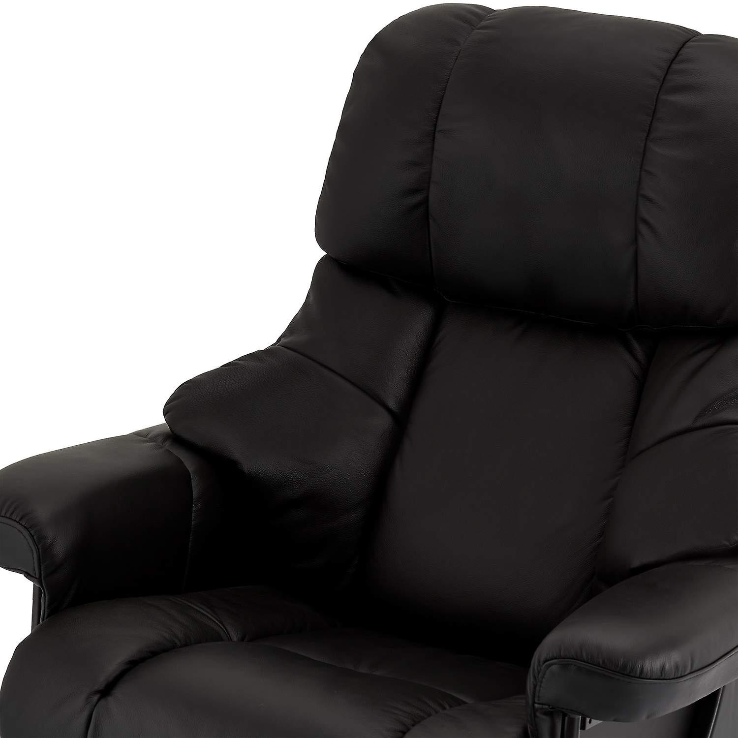 Furnhouse Black Leather Recliner Crown, 1 Seater, 83x88x107 cm