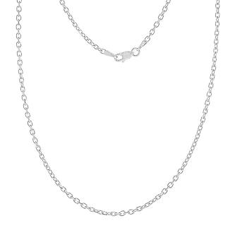 14k White Gold 2.3mm Sparkle Cut Cable Chain Necklace Lobster Claw Closure Jewelry Gifts for Women - Longueur: 18 à 30