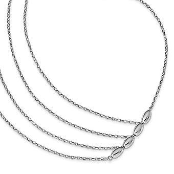 925 Sterling Argent Rhodium Plaqué Collier Multistrand Poli 17 Pouces Bijoux Cadeaux pour les femmes
