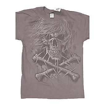 Gothic Horror T Shirt Grey Crossbones new Liquid Blue Mens Grey