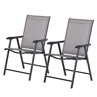Outsunny Set of 2 Foldable Metal Garden Chairs Outdoor Patio Park Dining Seat Yard Furniture - Grey