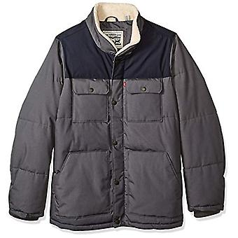 Levi's Men's Big and Tall Mixed Media Quilted Sherpa Shirt Jacket, Light Grey...