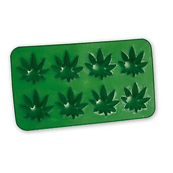 Ice cube mold Cannabis hemp leaves mold green, 100% silicone, for 8 ice cubes, in polybag.