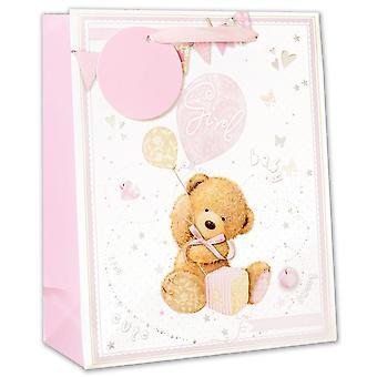 Simon Elvin Glitter Extra Large Baby Girl Gift Bags (Pack of 6)