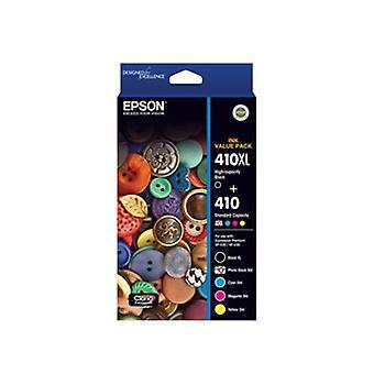 Epson 410XL Black + 4 Standard Colours (PB, C, M, Y) Value Pack