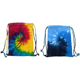 Colortone Tie Dye Sports Drawstring Tote Bag (Pack of 2)