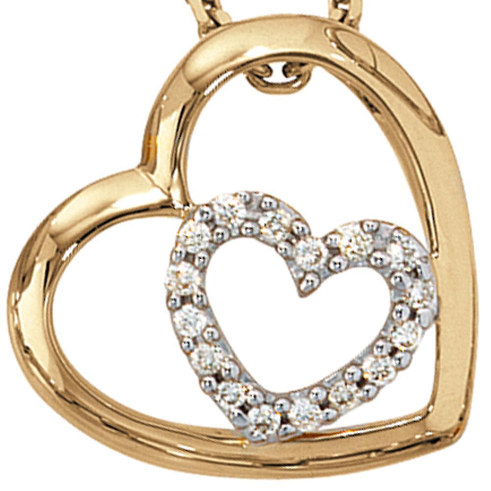 Damen Anhänger Herz 585 Gold Gelbgold 16 Diamanten Brillanten 0,12ct. Herzanhänger
