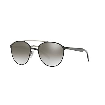 Prada Black-Gunmetal/Gradient Grey Mirror Silver Sunglasses