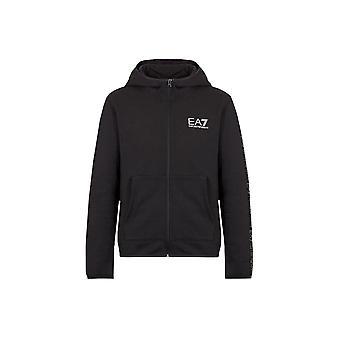 EA7 Emporio Armani Men's Black Hoooded Sweat Top