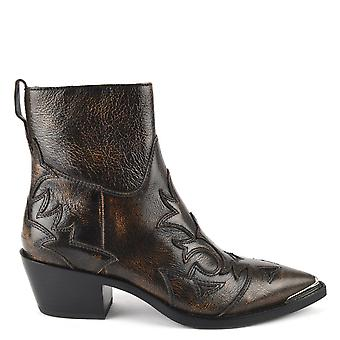 Ash DJANGO Boots Rustic Brown Python Effect Leather