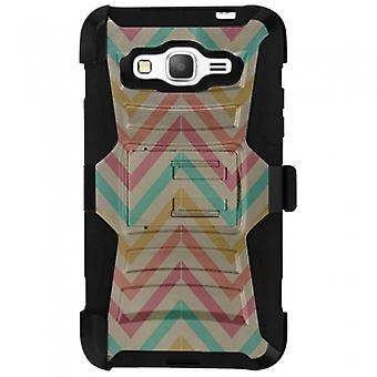SAMSUNG GALAXY GRAND PRIME SHELL CASE ARMOR KOMBO WITH KICKSTAND - PASTEL CHEVRON