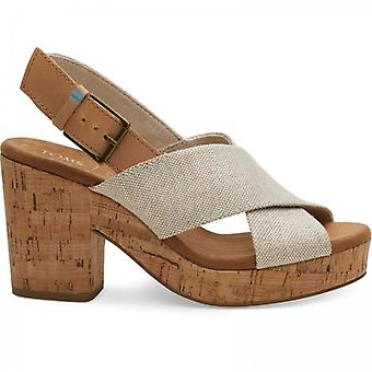 TOMS Ibiza Ladies Canvas Cross Strap Heeled Sandals Gold