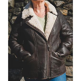 Nordvek Womens Sheepskin Jacket - Aviator Nappa Leather Flying Jacket # 705-100