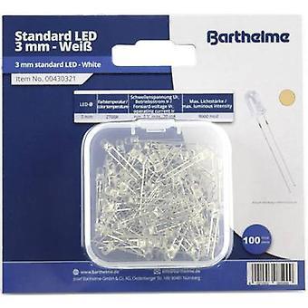 Barthelme LED set Warm white Circular 3 mm 9000 mcd 25 ° 20 mA 3 V