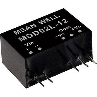 Mean Well MDD02L-05 DC/DC omvandlare (modul) 200 mA 2 W Nr. av utgångar: 2 x