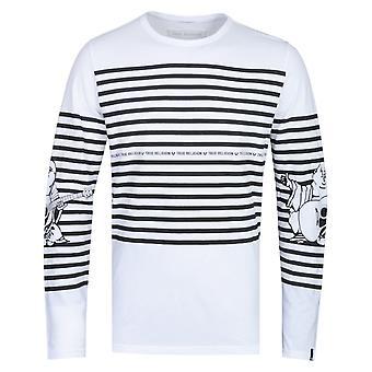 True Religion Long Sleeve Buddha Stripe White T-Shirt