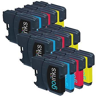 3 sæt blækpatroner til at erstatte Brother LC980 og LC1100 Kompatibel/ikke-OEM med Go-blæk (12 trykfarver)