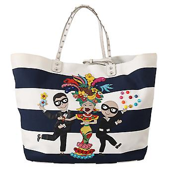 Blue white canvas beatrice #dgfamily shopping tote purse