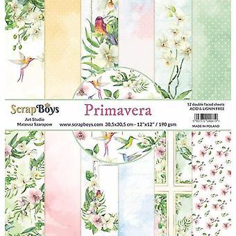 ScrapBoys Primavera paperset 12 vl+cut out elements-DZ PRIM-01 190gr 30,5cmx30,5cm