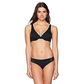 Märke - Coastal Blue Women's Swimwear Bikini Bottom, Svart, L (12-14)