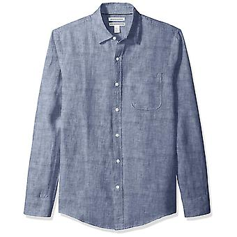 Essentials Men's Slim-Fit Camisa de linho de manga comprida, Marinha, Grande