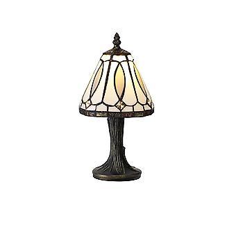 Éclairage Luminosa - Lampe de table Tiffany, 1 x E14, Blanc, Gris, Ombre de cristal claire