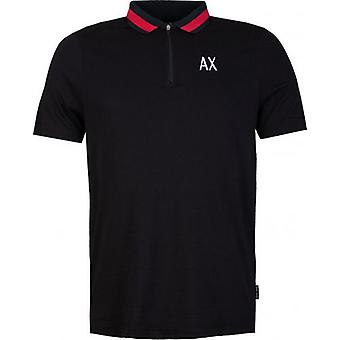Armani Exchange Contrast Collar Zip Neck Polo Shirt