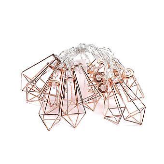 YANGFAN Diamond Drop Frame Rose Gold Geometric Light String