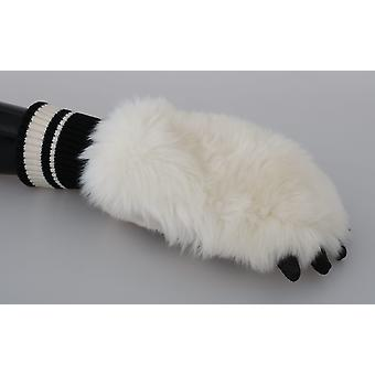 Dolce & Gabbana Cream Paw Fur Knitted Wrist Polyester Gloves