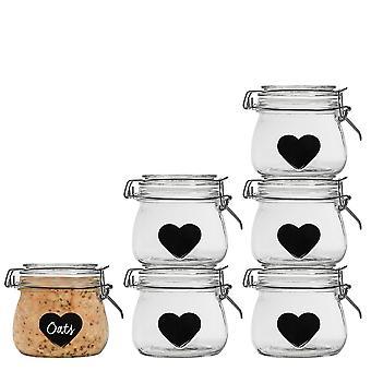 Nicola Spring Home Preserving Bundle - Set of 6 Embossed Heart Food Jam Storage Jars with Seals, Chalkboard Labels - 500ml