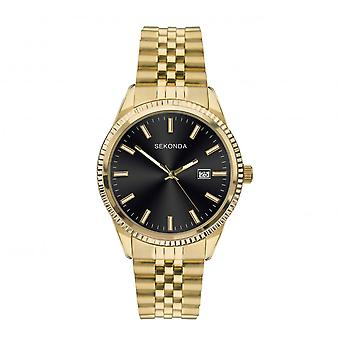 Sekonda Mens Round Black Date Dial Gold Plated Bracelet Watch 1642