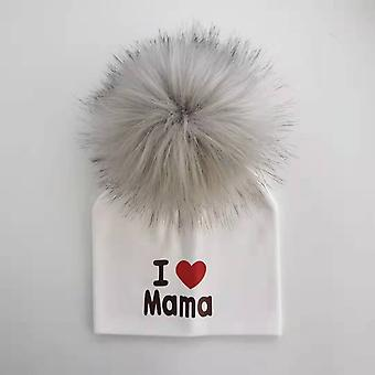 Tyttö vastasyntynyt puuvillahatut Baby Pom Photo Rekvisiitta I Love Mama Papa Children's Kids Hat Boy Toddler Cap Bonnet Infant