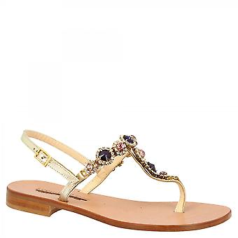 Leonardo Shoes Women's handmade flat slingback thong sandals in platinum calf leather with purple and silver strass