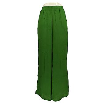 Curations Women's Pants Lightweight Pull On Wide Leg Gauze Green 653-762
