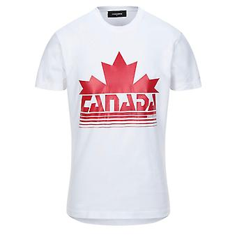 Dsquared2 Canada Maple Leaf Logo Cool Fit White T-Shirt