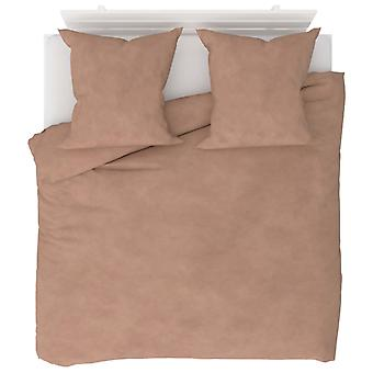 3-tlg. Bettwäsche-Set Fleece Beige 200 x 220 / 80 x 80 cm