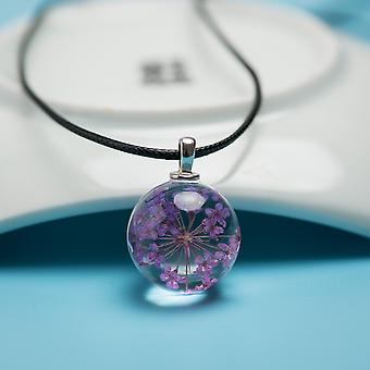 Natural Dried Flower Glass Ball-pendant Necklace