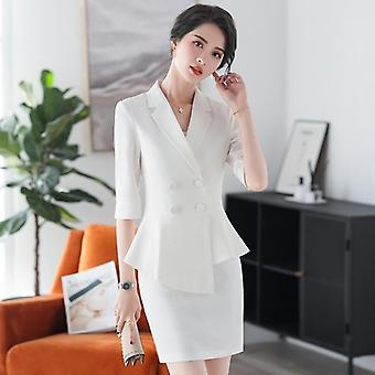 Professional Women's Pants Suit Set Spring And Summer, Casual Ladies White