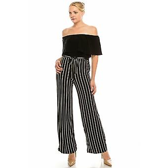 Off The Shoulder Striped Jumpsuit