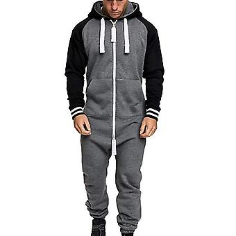 Automne Hiver Homme & s Zipper Jumpsuit, Patchwork Sportswear, Casual Hooded With