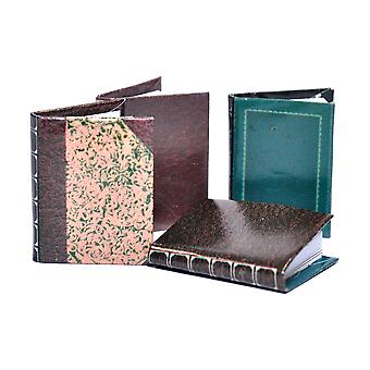 Dolls House 4 Leather Bound Books Blank Pages Miniature Study Library Accessory