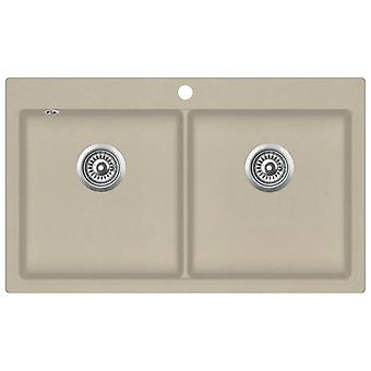 Granite sink double basin Beige