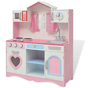 Toy kitchen wood 82×30×100 cm pink and white