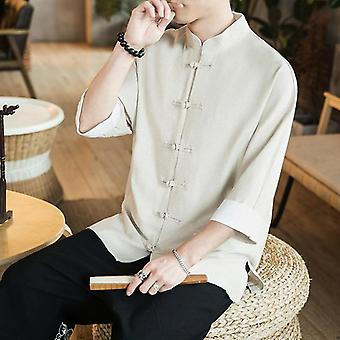 New Chinese Style Mens Tops Tang Suit Linen Long Sleeve Solid Traditional Kung