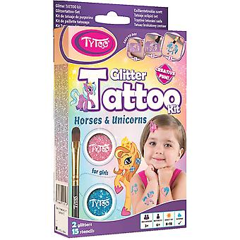 Glitter tattoo kit for girls with 15 amazing horses and unicorns stencils - hypoallergenic and cruel