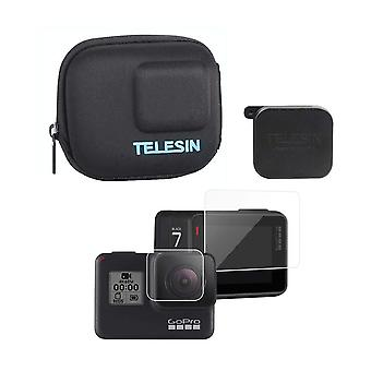 Telesin protective mini camera case semi-rigid shell travel carrying bag + screen & lens protector f