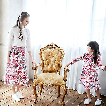 Carnival Colorful, Printed Long Sleeve- Shift Dress For Mother Daughter