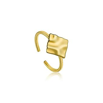 Ania Haie Silver Shiny Gold Plated Crush Square Adjustable Ring R017-02G